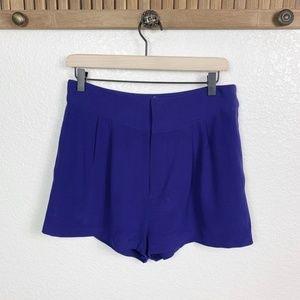 Rebecca Minkoff Purple Silk High Rise Shorts